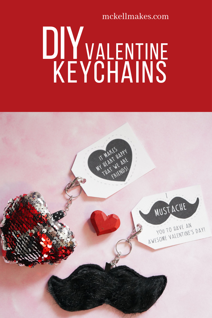 Free Valentine Keychains Sequin Heart Furry Mustache Free Printable Tag