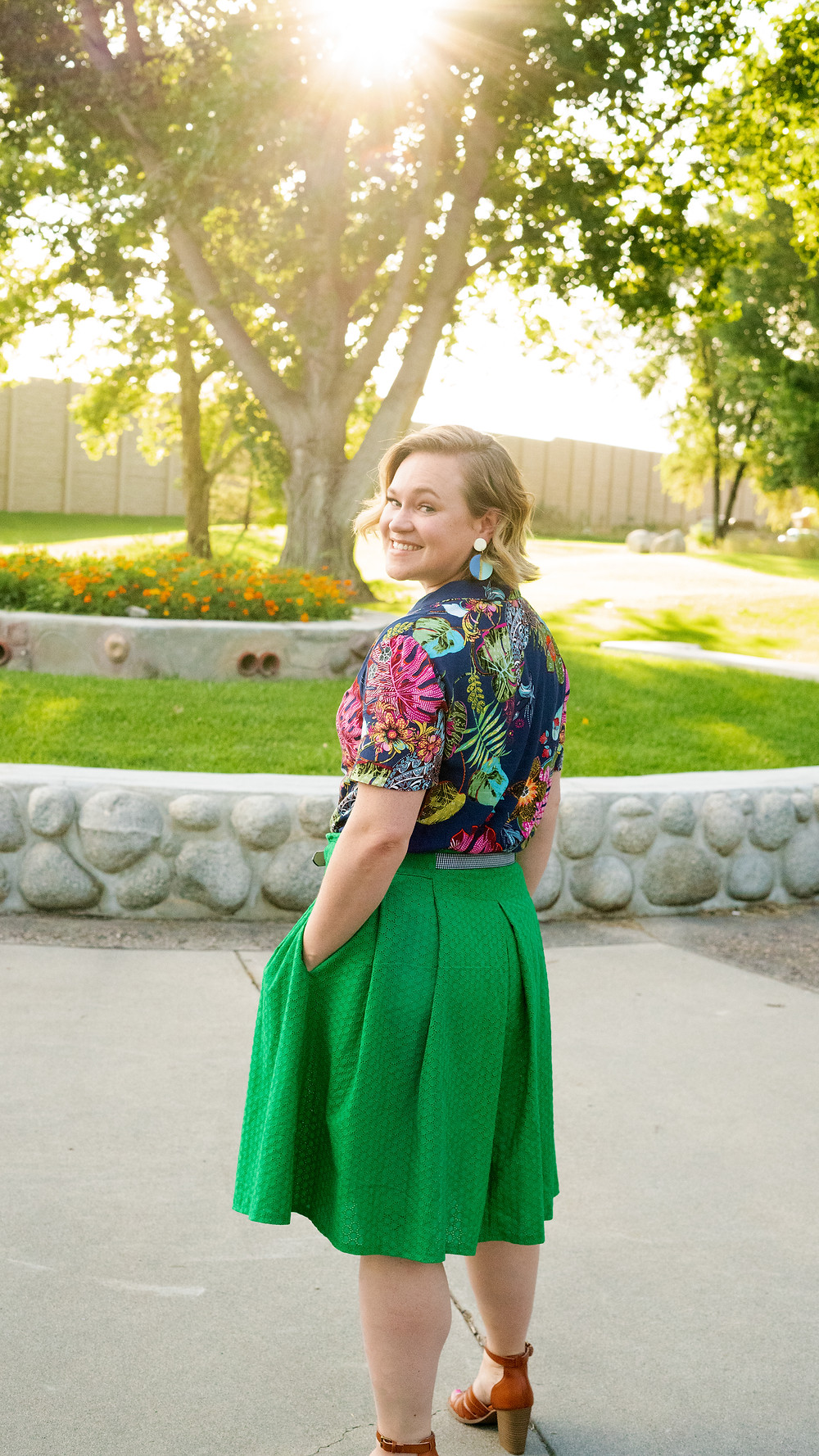 McCall's 7906 Green Pleated Skirt and the Natalie Top by Seamwork Patterns
