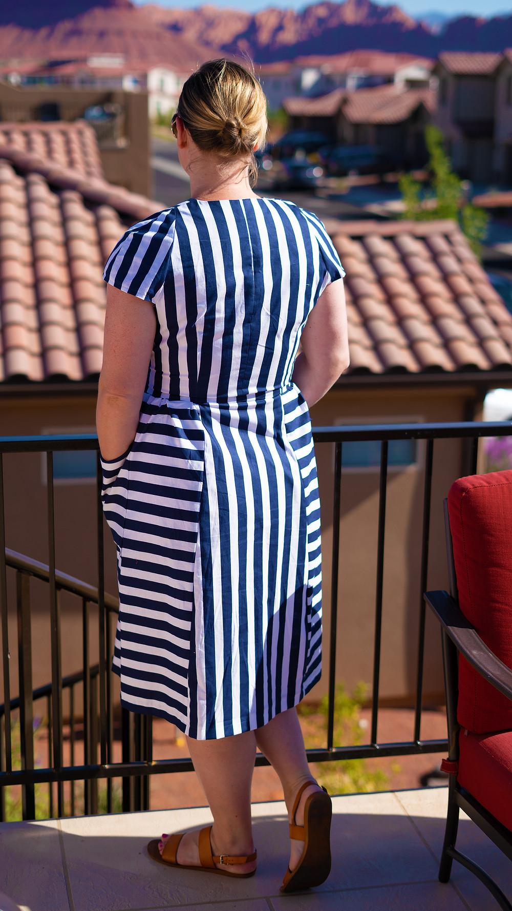 Blue and White Striped Burda Lapel Wrap Dress 04/2015 #121