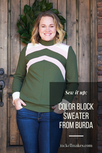Structured Color Block Sweater Burda 09/2016 #124 Sewing Pattern for Women