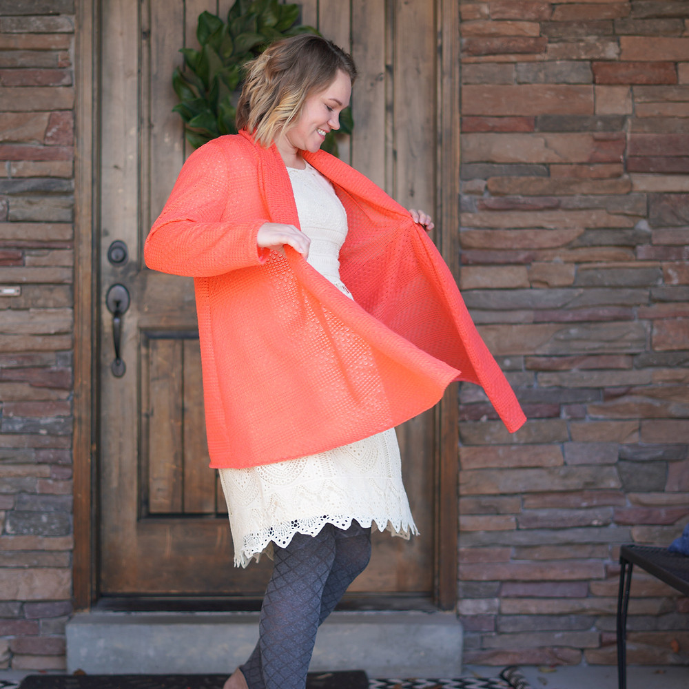 McCall's 6084 One Hour Cardigan Pattern Coral