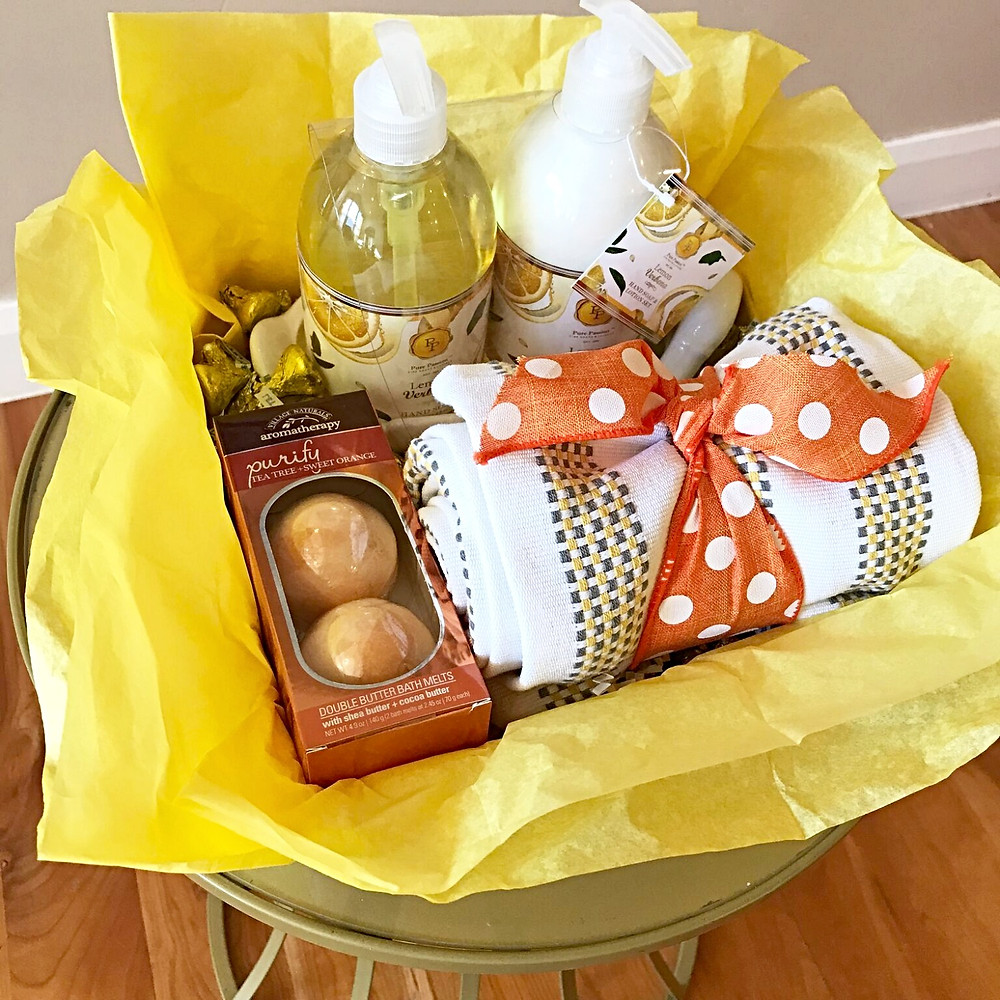 Happy Yellow Orange Gift Basket for Friend, Sister, Mom or Teacher