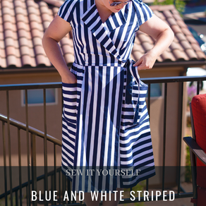 Blue and White Striped Burda Lapel Wrap Dress 04/2015 #121