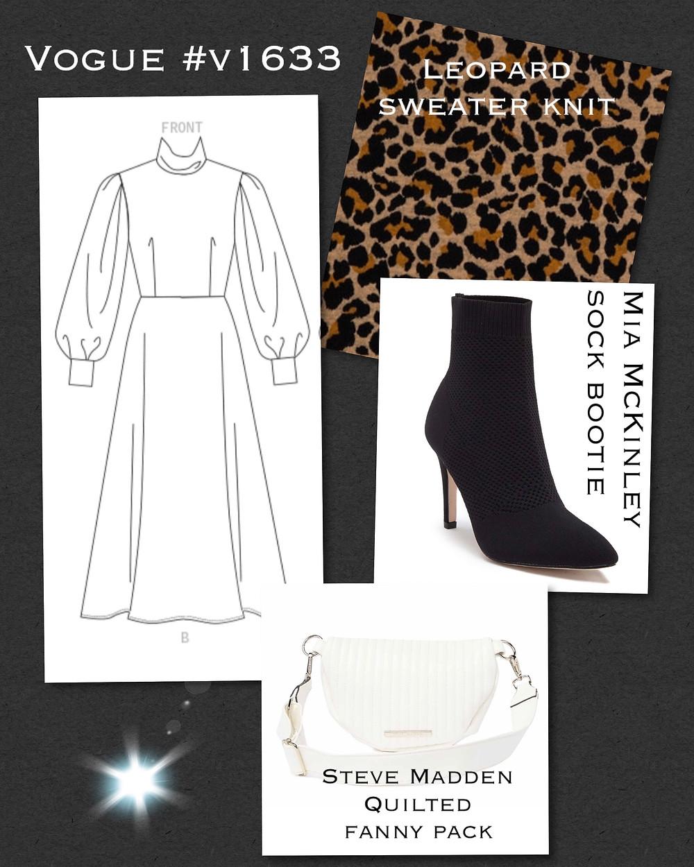 Vogue 1633 leopard print dress mood board