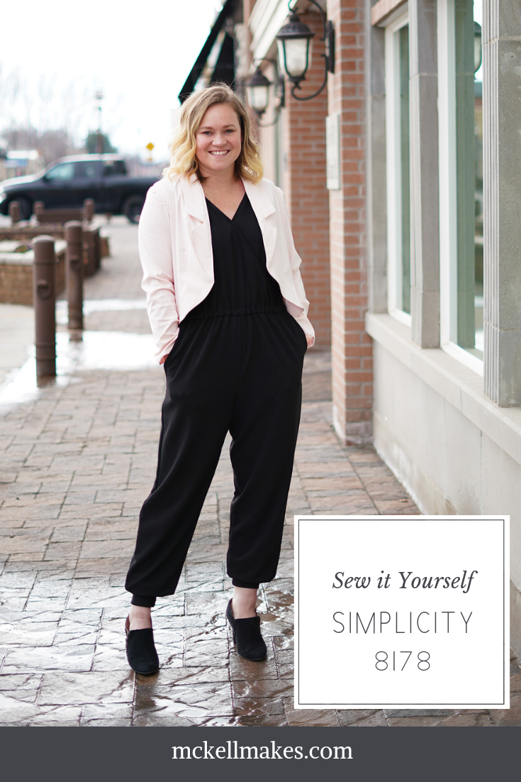Sewing Pattern for Women Black Jumpsuit Blush Blazer Simplicity 8178