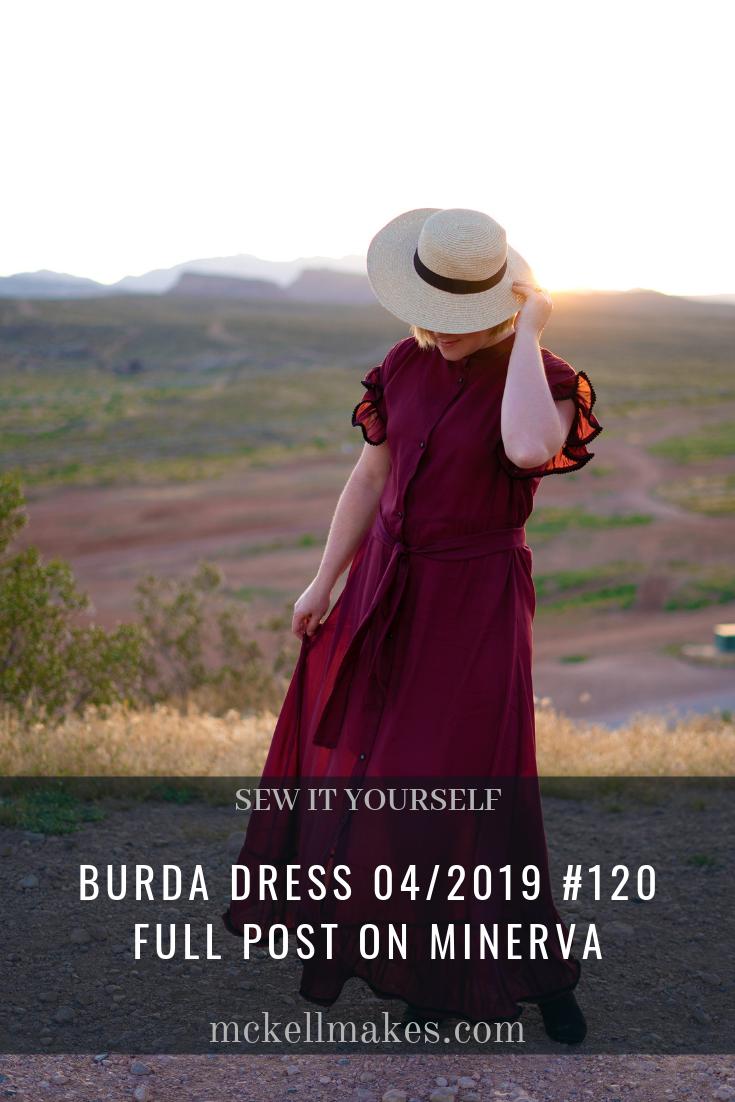 Burda Plumetis Dress 04/2019 #120 - Burgundy Silk Voile Dress