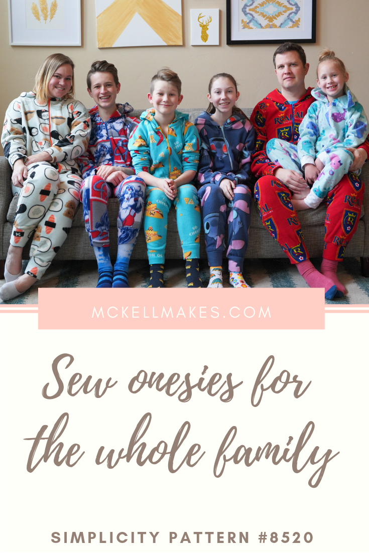 Simplicity 8520 Onesie pattern for the whole family sew along