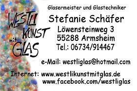 Visitenkarte WeStLi Kunst mit Glas