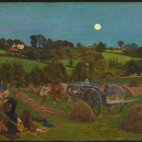 The Hayfield by Ford Madox Brown with a glass Tierra Sagrada