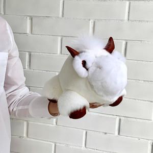 Игрушка бычок из натурального меха белая