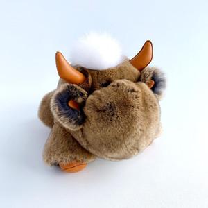 Игрушка бычок из натурального меха коричневая