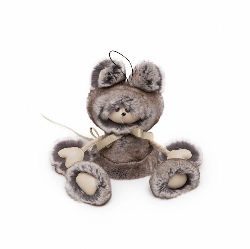Мышка Матильда из натурального меха кролика Рекс.