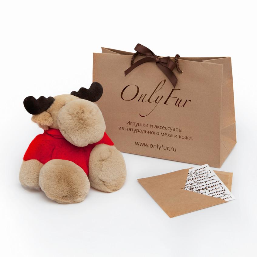 Комплект подарочной упаковки поставляется с каждым изделием OnlyFur и включает крафтовый пакет и открытку.