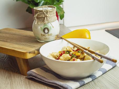 como consumir aceite de coco:Receta Pollo Thai