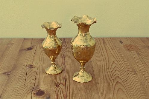 15 Small & medium brass flower vases