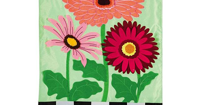 Evergreen Gerbera Daisies Stripes Garden Flag