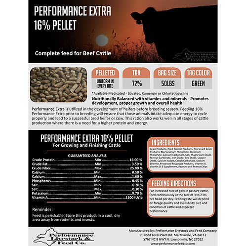 Performance Extra 16% Pellet Cattle Feed - 50 lb. bag