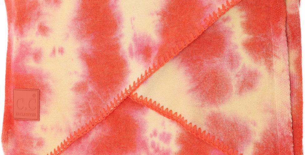 CC Beanie Tie Dye Scarf with Rubber Patch