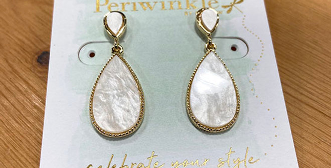 Periwinkle White and Gold Teardrop Earrings