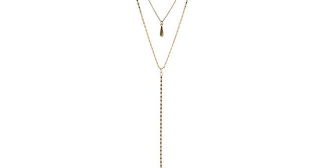 Jane Marie 3 Layer Necklace with Fringe and Teardrop
