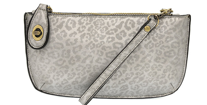 Joy Susan Lux Crossbody Wristlet Clutch - Grey Leopard