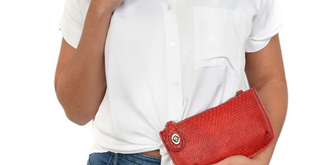 Joy Susan Python Mini Crossbody Wristlet Clutch - Ladybug Red