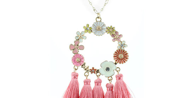 Jane Marie Floral Circle Necklace with Pink Tassels