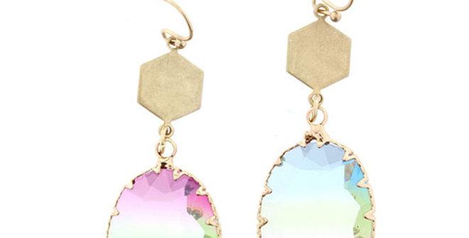 Jane Marie Golf Hexagon Oval Earrings