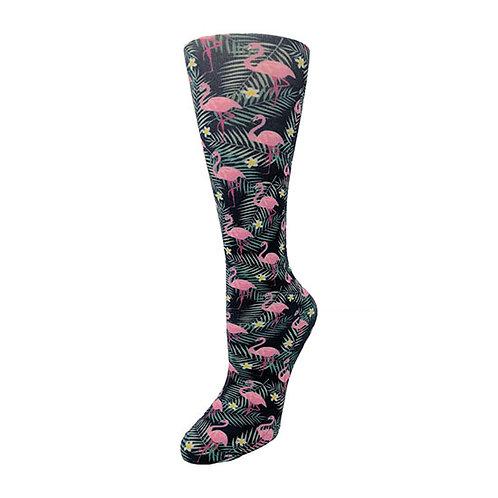 Cutieful 8-15 mmHG Sheer Compression Socks - Flamingos
