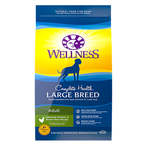 Wellness Complete Health Large Breed Deboned Chicken and Brown Rice - 30 lb. bag
