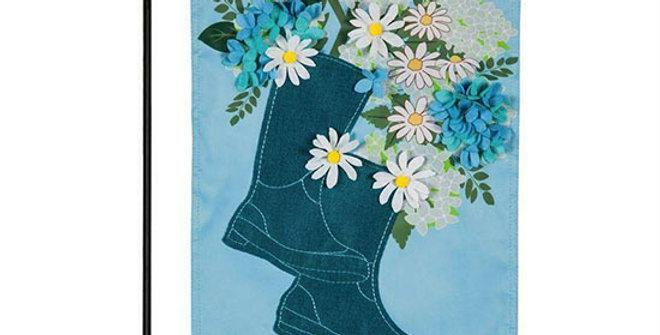 Evergreen Rain Boot Bouquet Garden Flag