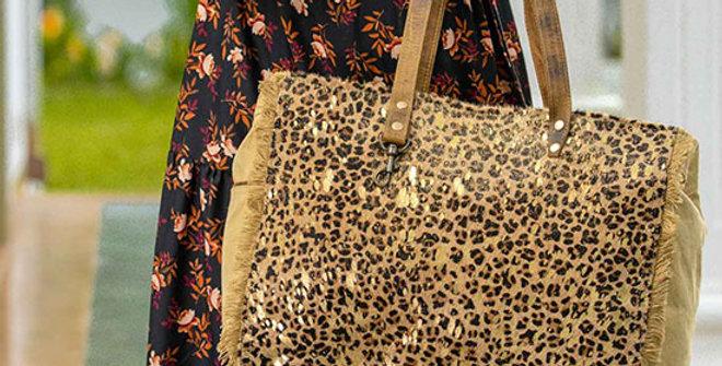 Myra Bag Hunter Canvas and Hairon Bag