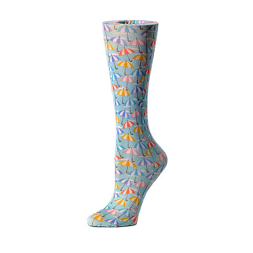 Cutieful 8-15 mmHG Sheer Compression Socks - Striped Umbrellas
