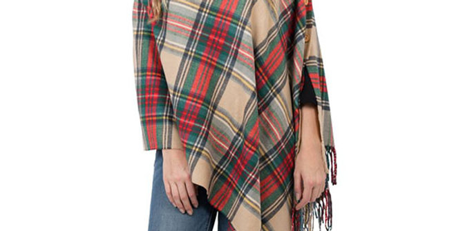 Top it Off 3-in-1 Camel Plaid Wrap