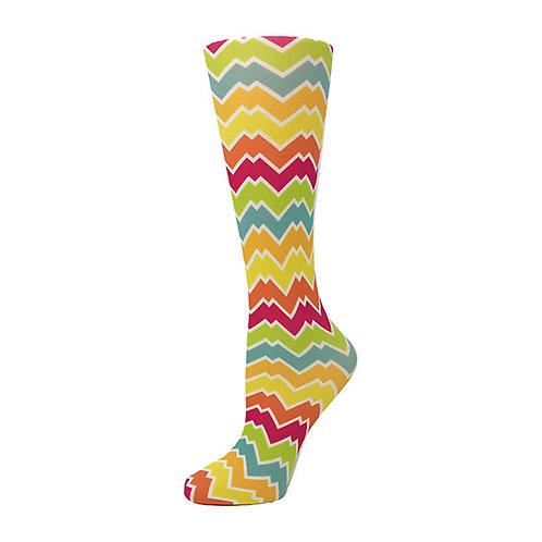 Cutieful 8-15 mmHG Sheer Compression Socks - Rainbow Chevron