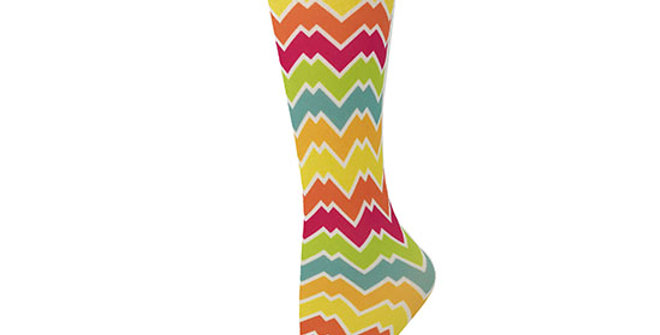 Cutieful 8-15 mmHG Sheer Compression Socks - Rainbow Chevron