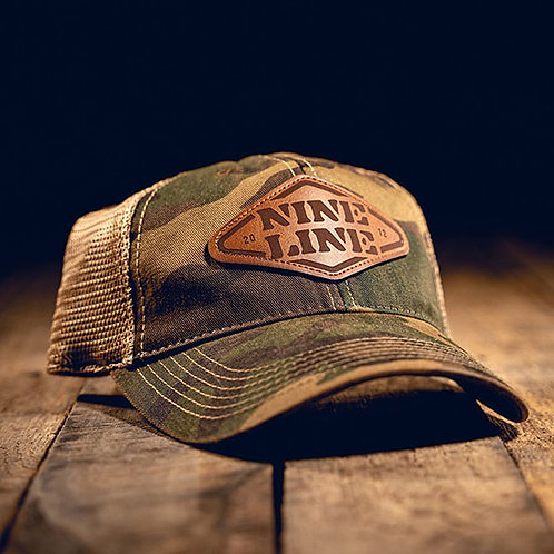 Nine Line Camo Trucker Hat with Stencil Patch