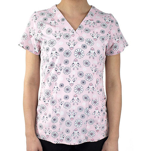Maevn Hello Gorgeous V-Neck Print Scrub Top