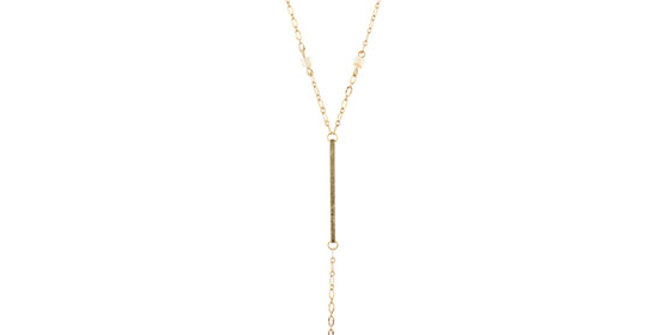 Jane Marie Gold Chain Necklace with Gold Bar, Topaz and Opal