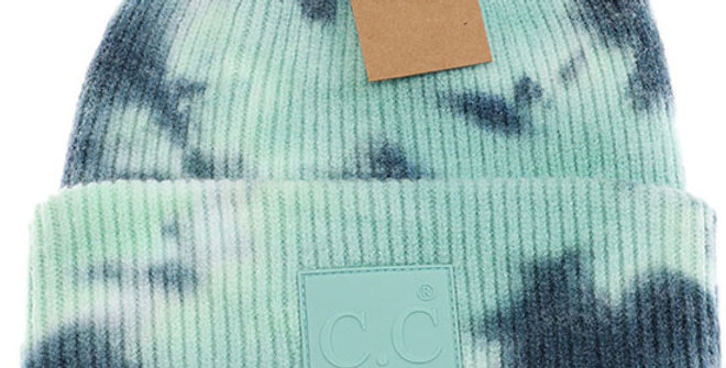 CC Beanie Tie Dye Beanie with Rubber Patch