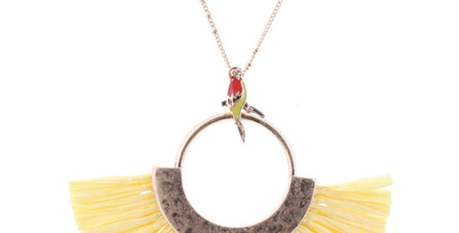 Jane Marie Parrot Necklace with Yellow Raffia Fan