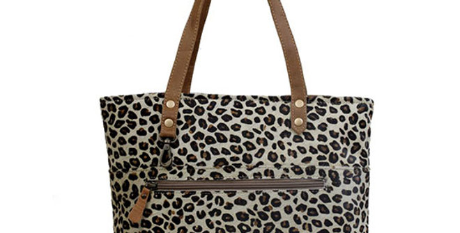 Myra Bag Magnetic Leather and Leopard Hairon Bag