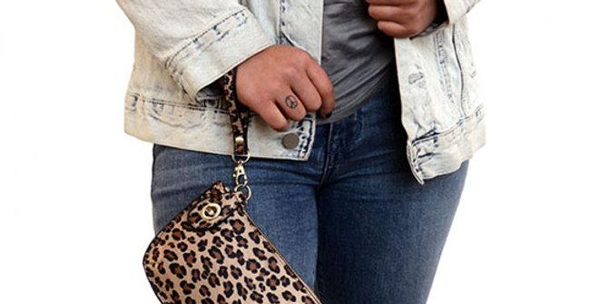 Joy Susan Lux Crossbody Wristlet Clutch - Natural Leopard