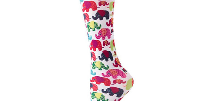Cutieful 8-15 mmHG Sheer Compression Socks - Elephants