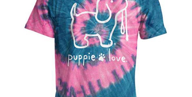 Puppie Love Women's Bubble Gum Tie Dye Pup Shirt