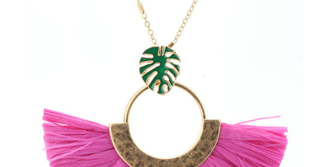 Jane Marie Hot Pink Palm Necklace