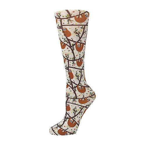 Cutieful 8-15 mmHG Sheer Compression Socks - Slothin' Around