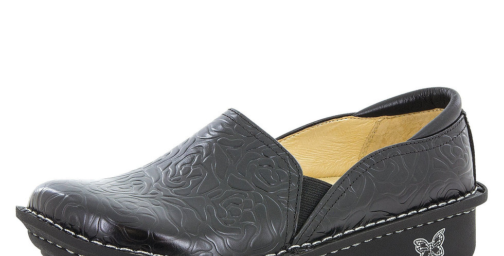 Alegria Debra Black Embossed Rose