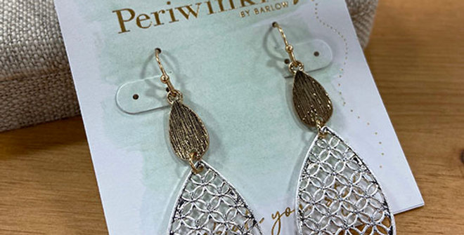 Periwinkle Two-Tone Teardrop Earrings