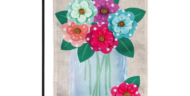 Evergreen Polka Dot Floral Mason Jar Garden Flag